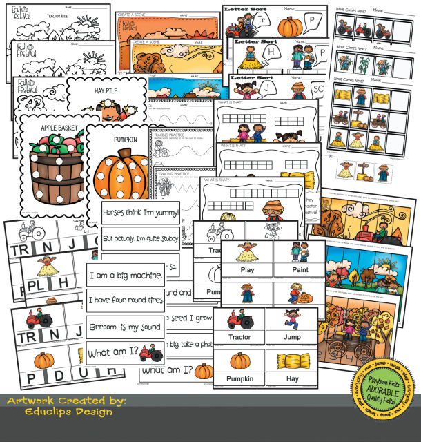 image relating to Fall Printable Activities called Tumble Tale Period PreK Printable Functions
