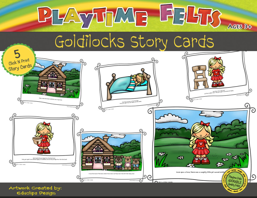 photograph relating to Printable Felt Board Stories identified as Goldilocks Printable Tale Playing cards Digi Down load