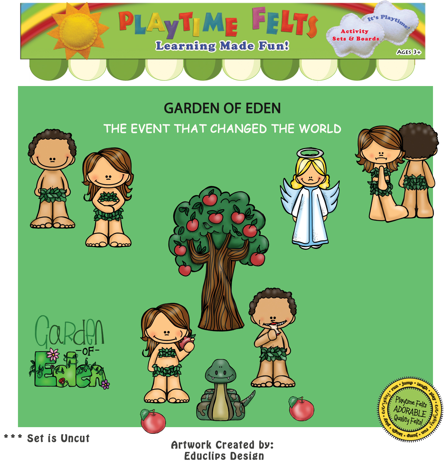 Garden of Eden Bible Felt Story for Preschoolers - Uncut