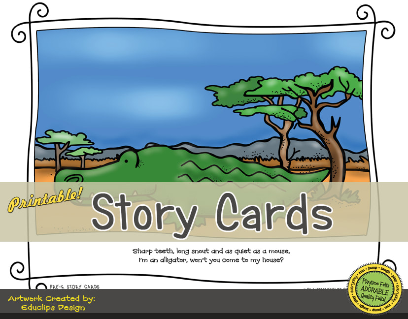 A Fun Felt Story in Rhyme: African Animals Story Cards correlates with Playtime Felts Story Script  #preschool #printables #prek #storycards #circletime #playtimefelts #feltboardstories #iteach