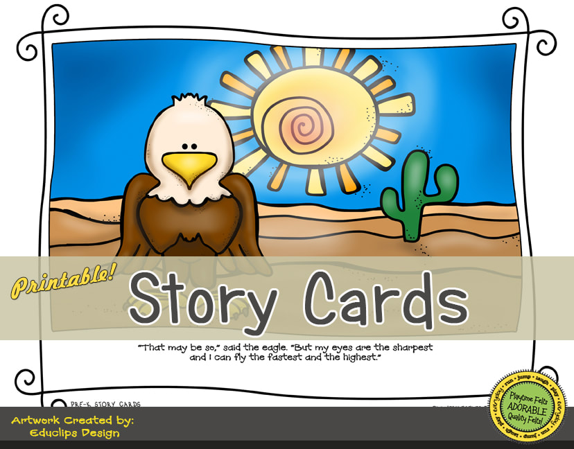 A Fun Felt Story in Rhyme: Desert Story Cards correlates with Playtime Felts Story Script  #preschool #printables #prek #storycards #circletime #playtimefelts #feltboardstories #iteachPicture