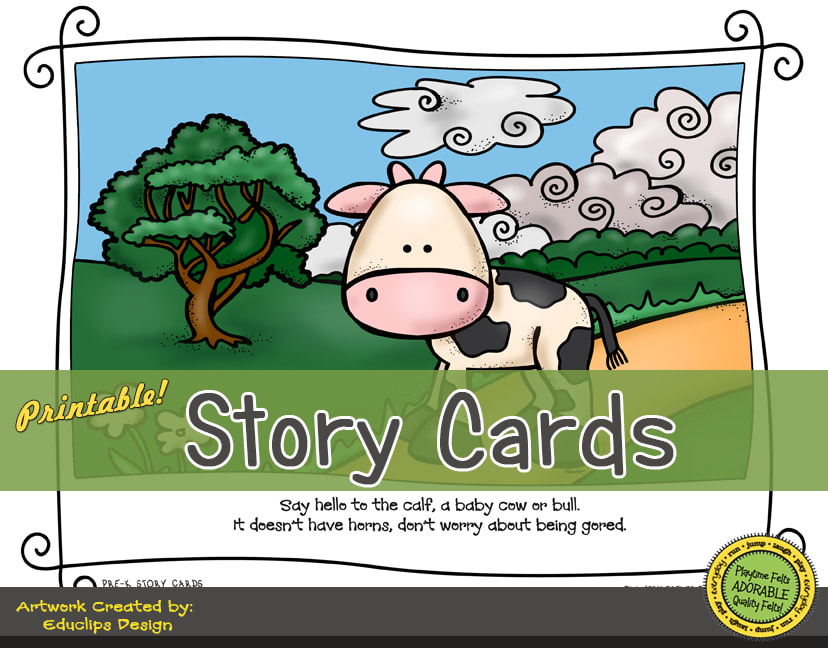 A Fun Felt Story in Rhyme: Farm Animals Story Cards correlates with Playtime Felts Story Script  #preschool #printables #prek #storycards #circletime #playtimefelts #feltboardstories #iteachPicture