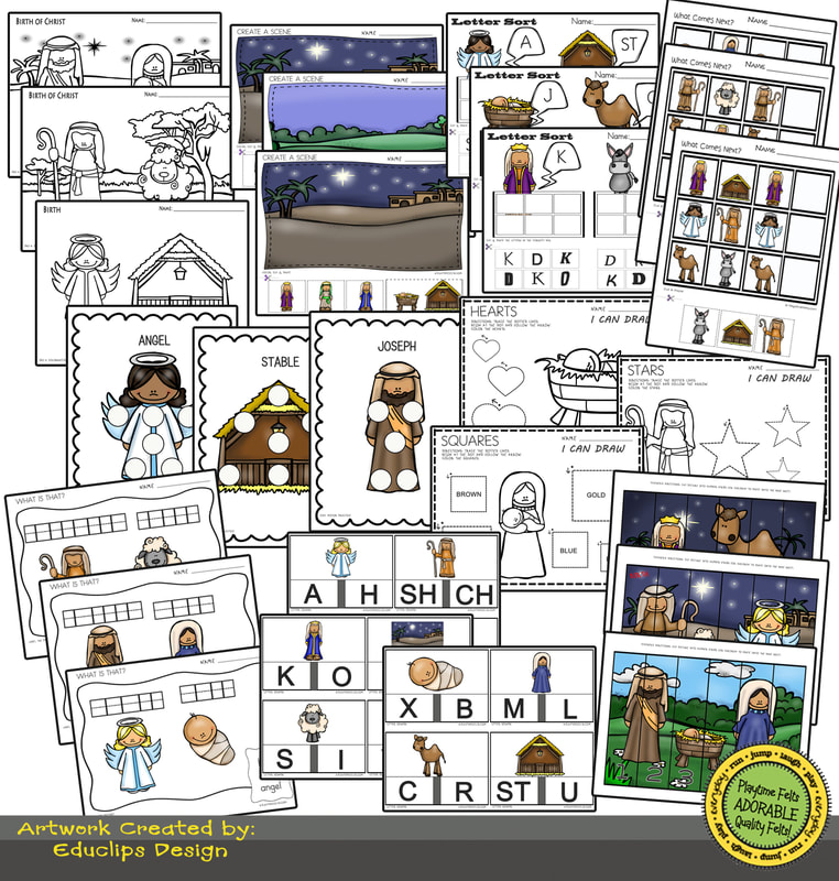 Birth of Jesus Storytime Worksheets