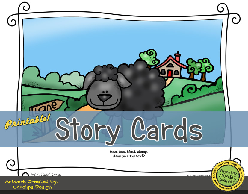 A Fun Felt Story in Rhyme: Baa Baa Black Sheep Story Cards correlates with Playtime Felts Story Script  #preschool #printables #prek #storycards #circletime #playtimefelts #feltboardstories #iteachPicture