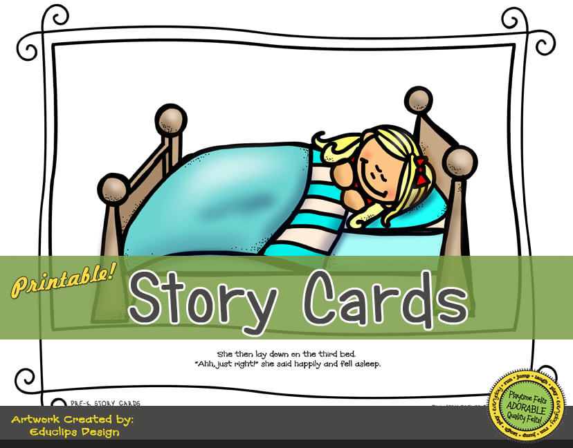A Fun Felt Story in Rhyme: Goldilocks Story Cards correlates with Playtime Felts Story Script  #preschool #printables #prek #storycards #circletime #playtimefelts #feltboardstories #iteachPicture