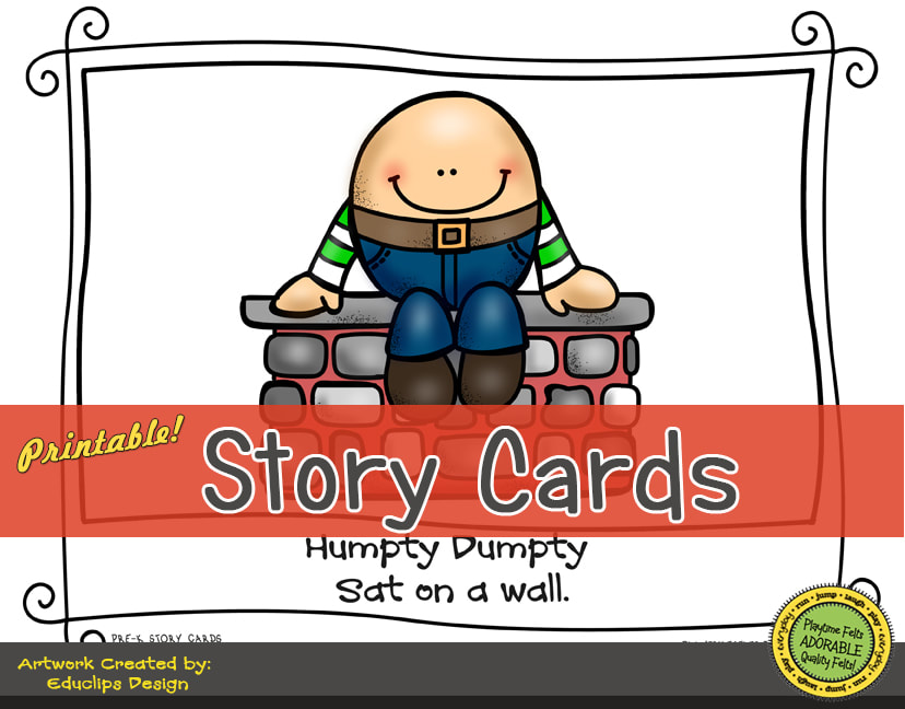 A Fun Felt Story in Rhyme: Humpty Dumpty Story Cards correlates with Playtime Felts Story Script  #preschool #printables #prek #storycards #circletime #playtimefelts #feltboardstories #iteachPicture