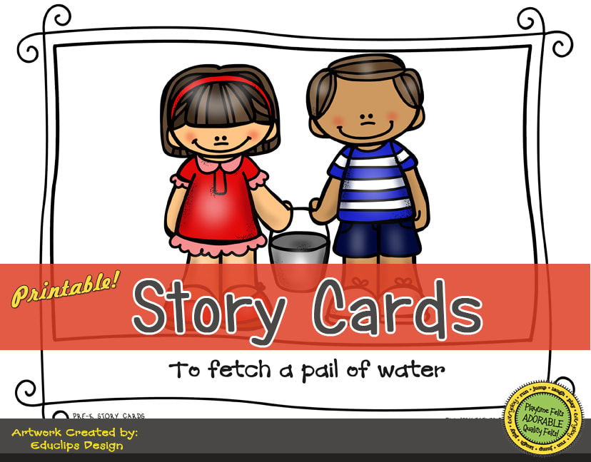 A Fun Felt Story in Rhyme: Jack and Jill Story Cards correlates with Playtime Felts Story Script  #preschool #printables #prek #storycards #circletime #playtimefelts #feltboardstories #iteachPicture
