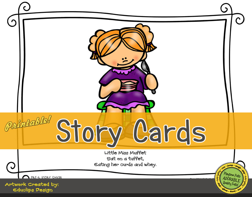 A Fun Felt Story in Rhyme: Little Miss Muffet Story Cards correlates with Playtime Felts Story Script  #preschool #printables #prek #storycards #circletime #playtimefelts #feltboardstories #iteachPicture