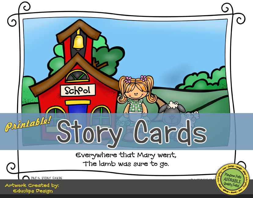 A Fun Felt Story in Rhyme: Mary Had a Little Lamb Story Cards correlates with Playtime Felts Story Script  #preschool #printables #prek #storycards #circletime #playtimefelts #feltboardstories #iteachPicture