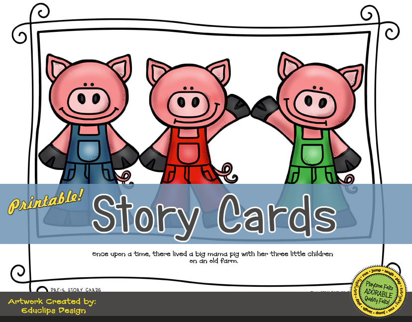 A Fun Felt Story in Rhyme: Three Little Pigs Story Cards correlates with Playtime Felts Story Script  #preschool #printables #prek #storycards #circletime #playtimefelts #feltboardstories #iteachPicture