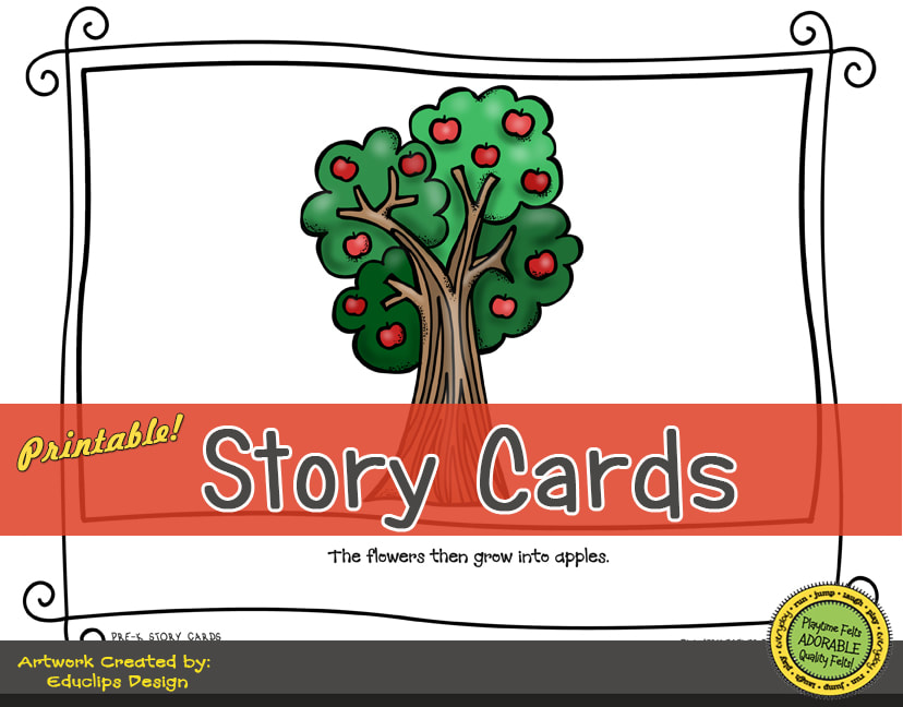 A Fun Felt Story in Rhyme: Apple Life Cycle Story Cards correlates with Playtime Felts Story Script  #preschool #printables #prek #storycards #circletime #playtimefelts #feltboardstories #iteachPicture