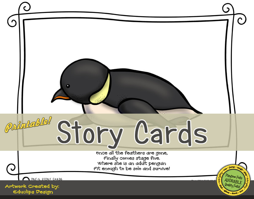 A Fun Felt Story in Rhyme: Penguin Life Cycle Story Cards correlates with Playtime Felts Story Script  #preschool #printables #prek #storycards #circletime #playtimefelts #feltboardstories #iteachPicture