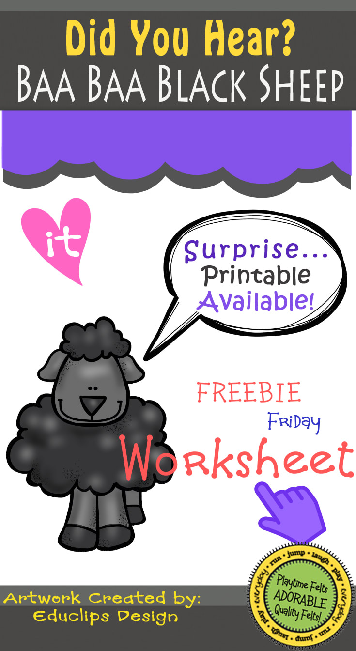 Baa Baa Black Sheep Did You Hear? FREEBIE Friday Printable by Playtime Felts: What Comes Next?  #prek #iteach #freeprintable #playtimefelts #patterns #sequence #whatcomesnext