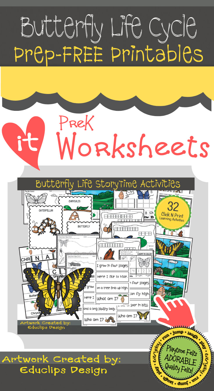 Prep-Free Butterfly Life Cycle Printables for Prek  #prek #printables #worksheets #toddler #playtimefelts
