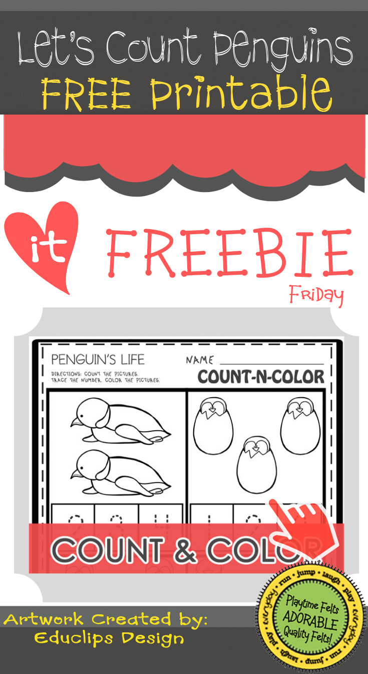 Let's Count Penguins - Free Printable from Playtime Felts