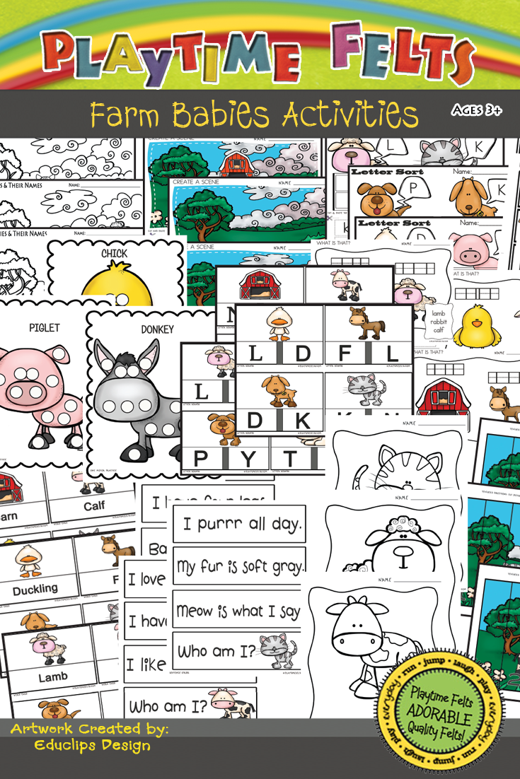 Farm Babie Printable Actvities for Preschool  #printables #farm #preschool #playtimefelts