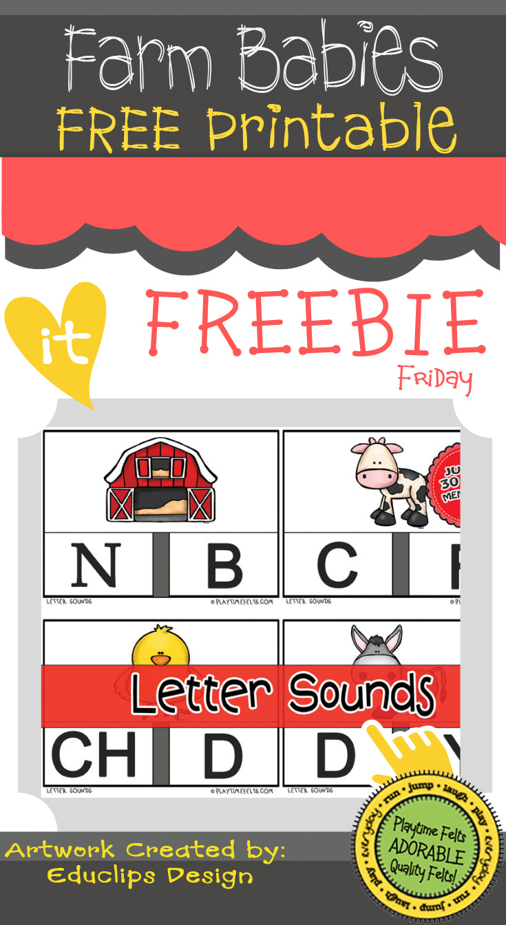 FREEBIE Friday Printable | Farm Babies Letter Sound Cards   #prek #picturecards #lettersounds #farm #animals #toddlers #free #printable #playtimefelts