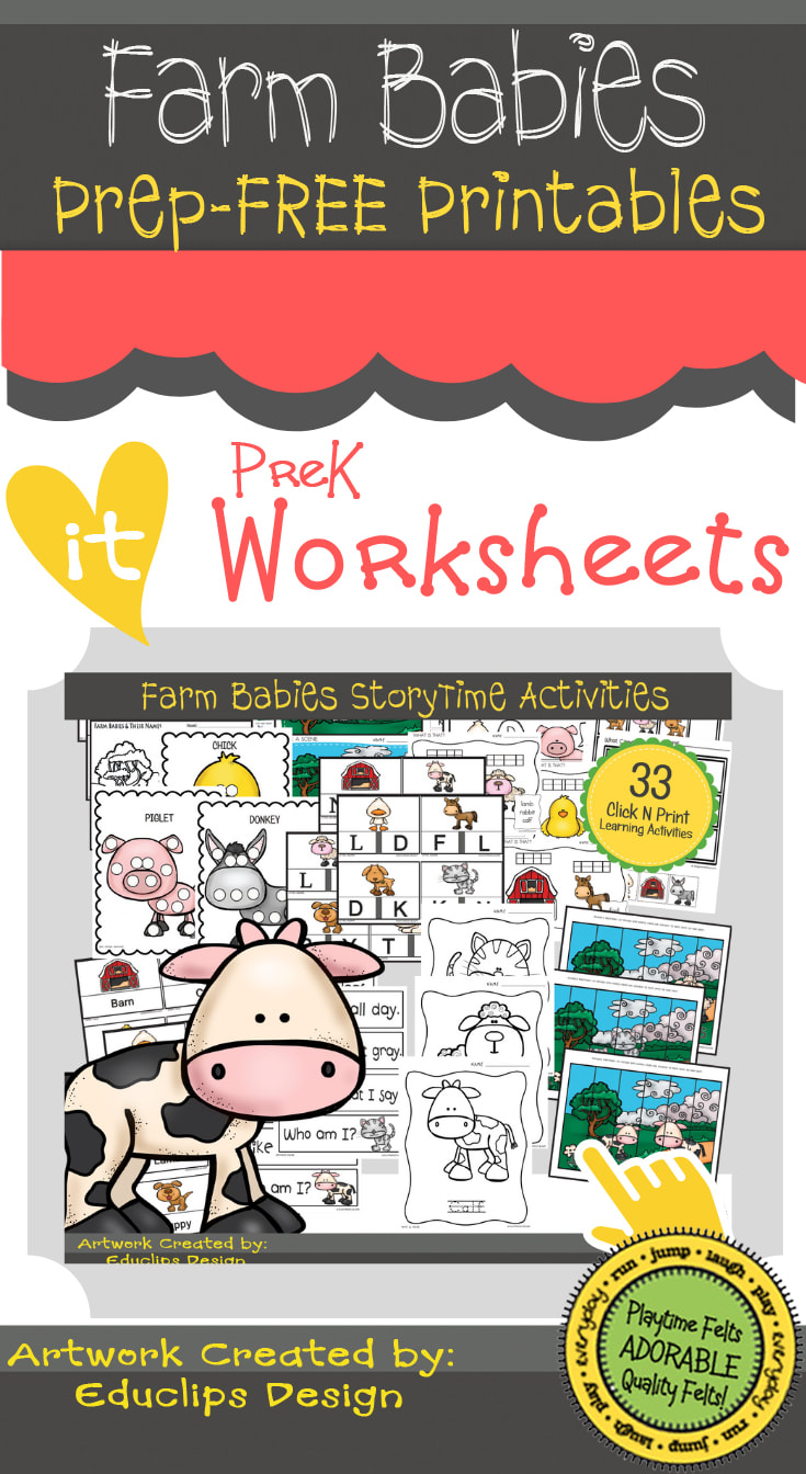 PREP-Free Prek Worksheets | Farm Babies Storytime Activites for Preschoolers  #prek #kidsactivities #worksheets #printables #farm #playtimefelts