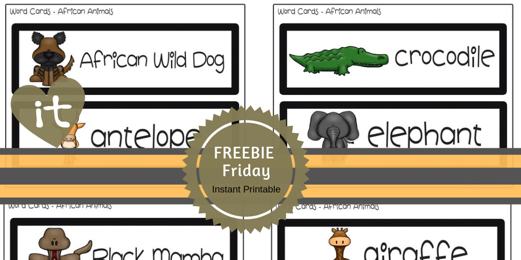 African Animals | Free Word Cards  #wordcards #preschool #toddlers #iteach #playtimefelts