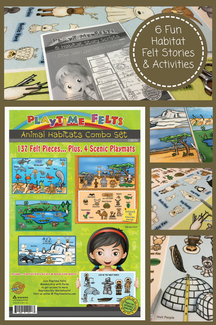 Animal Habitats Felt Story Activities by Playtime Felts. Now on Sale! #feltboardstories #flannelfriday #prek #preschool #iteach #playtimefelts #circletime #storytime #feltstory #habitats #kidactivities