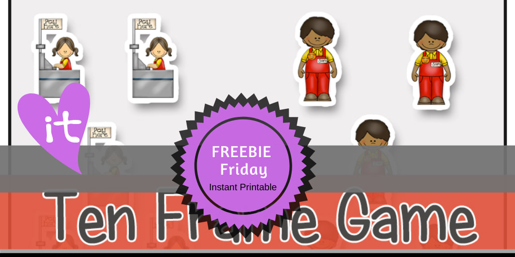 Pretend Play | Let's Go Shopping FREEBIE Friday Printable by Playtime Felts: Ten Frame Game  #prek #iteach #freeprintable #playtimefelts #teachers #parents #librarians #toddleractivities #earlylearning #worksheets  #preschool #iteachK #tenframe #countinggame #shopping #pretendplay