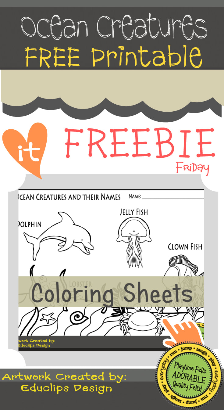 Ocean Creatures FREE Printable | Color Sheet   #prek #freeprintable #coloring #iteachprek #playtimefelts