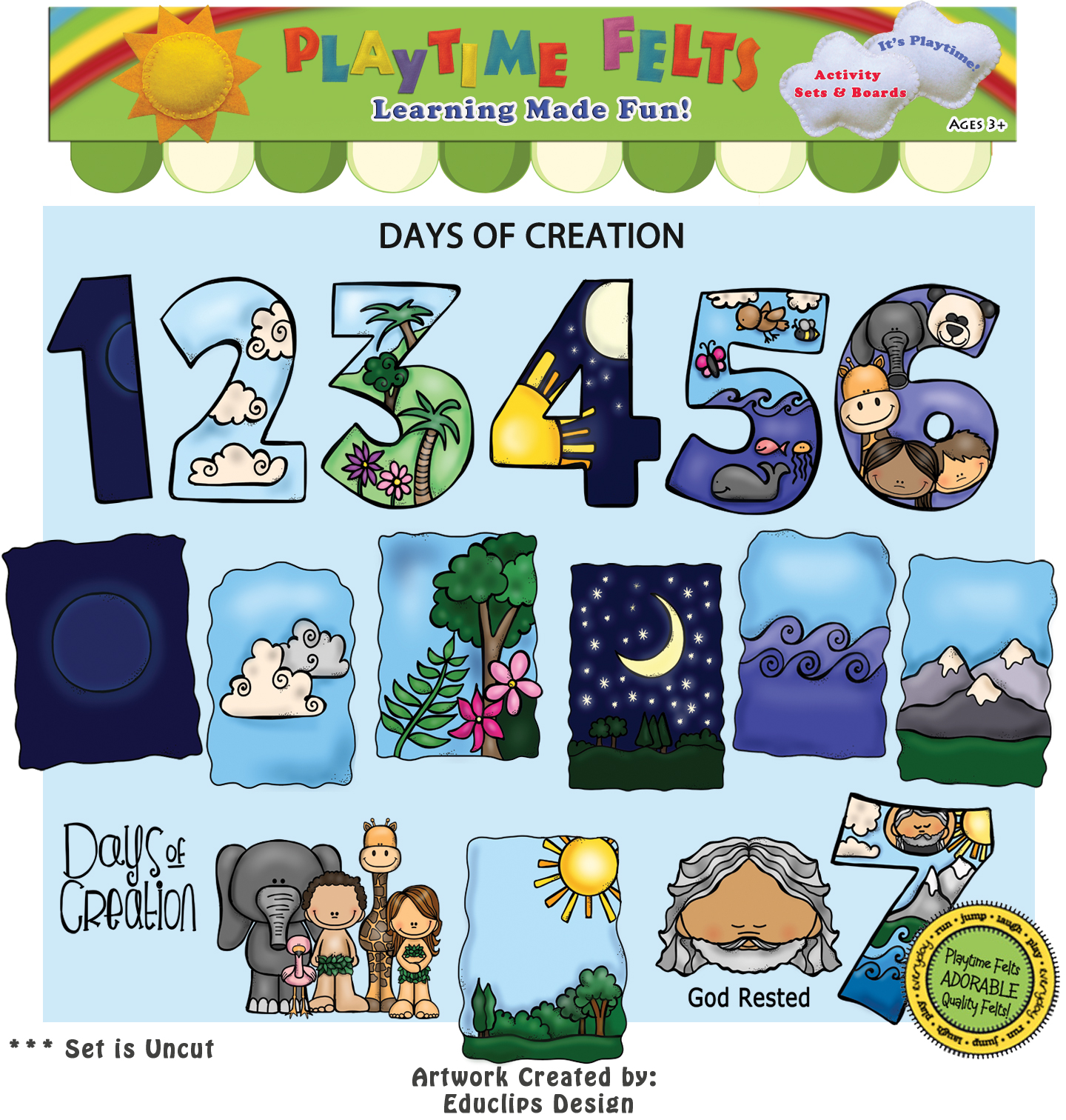 Days of Creation Bible Felt Story for Preschoolers - Uncut