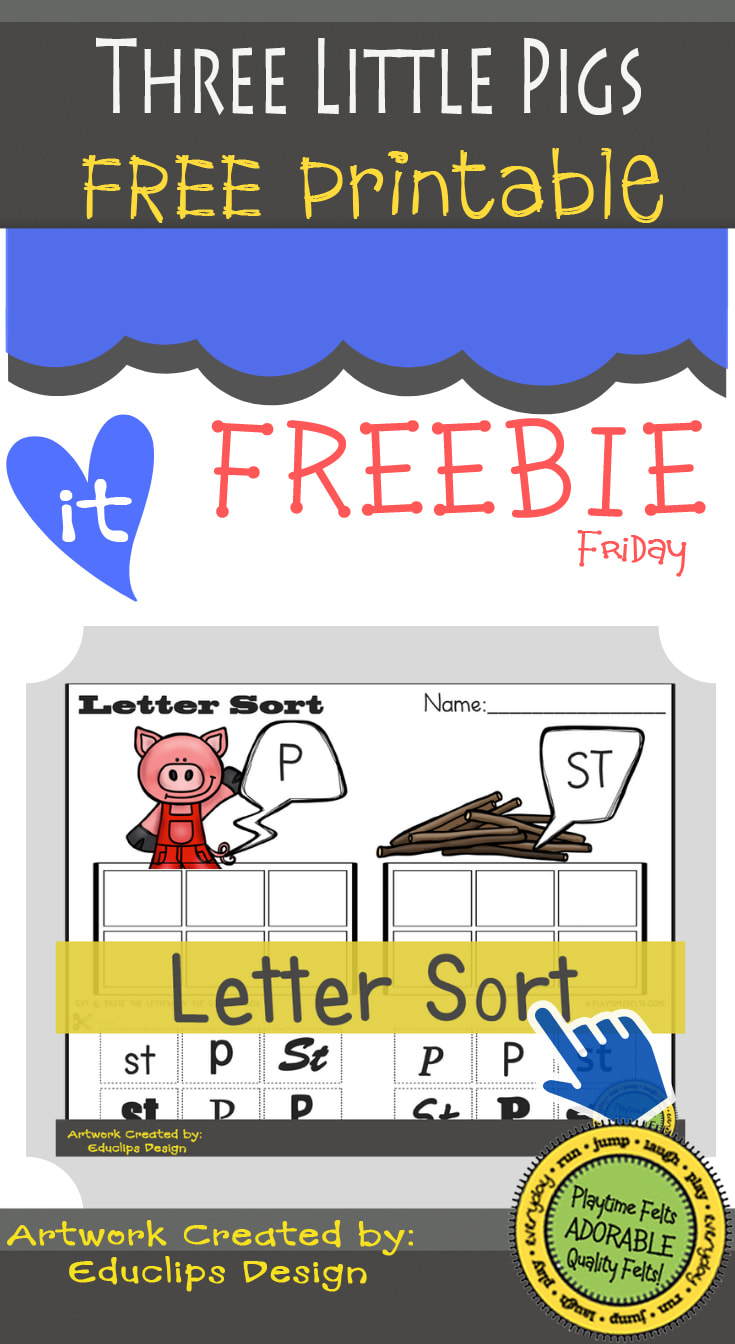 Three Little Pigs FREEBIE Friday Printable by Playtime Felts: Letter Sorting  #prek #iteach #freeprintable #playtimefelts #teachers #parents #librarians #toddleractivities #earlyreader #earlylearning #lettersorting #threelittlepigs